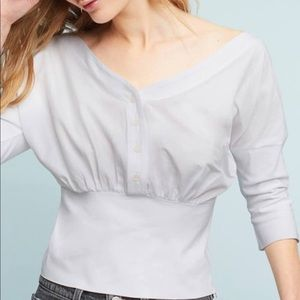 Maeve Anthro White Banded Poplin Top